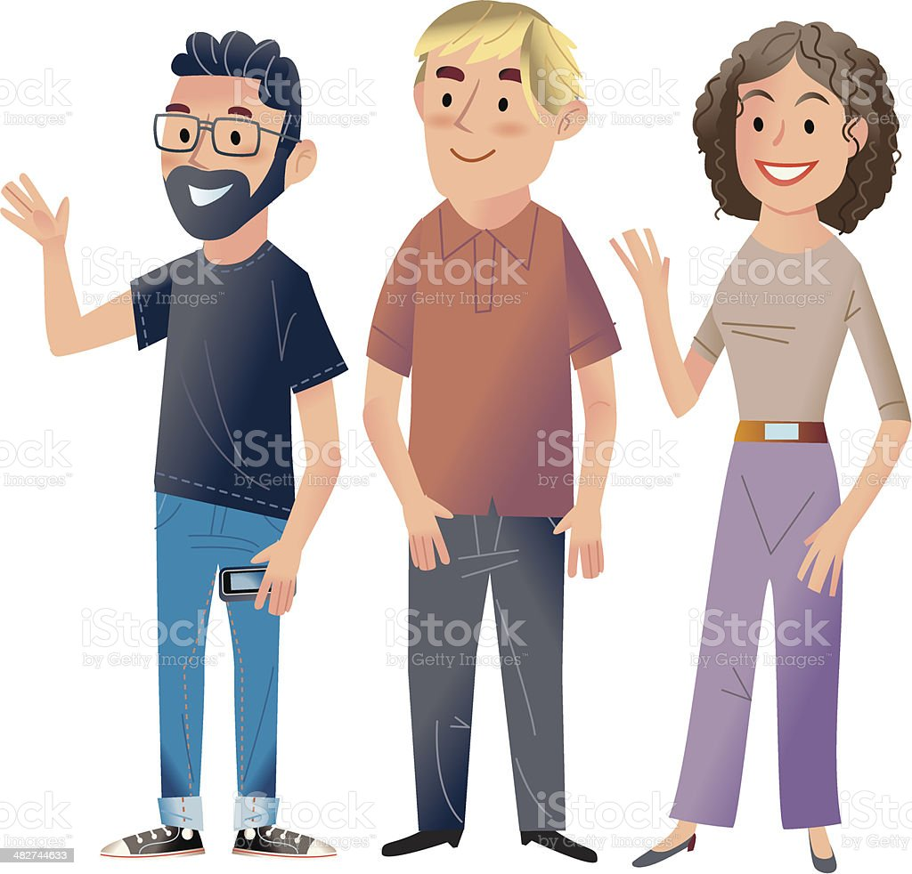 Group of  young people vector art illustration