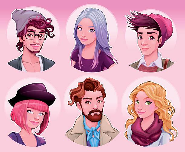 stockillustraties, clipart, cartoons en iconen met group of young people - karikatuur