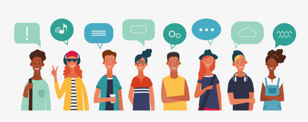 Group of young people with colorful dialog speech bubbles. Communication, teamwork and connection vector concept Group of young people with colorful dialog speech bubbles. Communication, teamwork and connection vector concept students stock illustrations