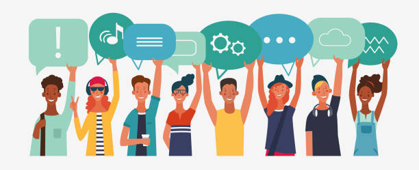Group of young people with dialog speech bubbles. Communication, teamwork and connection vector concept Group of young people with dialog speech bubbles. Communication, teamwork and connection vector concept young adults stock illustrations