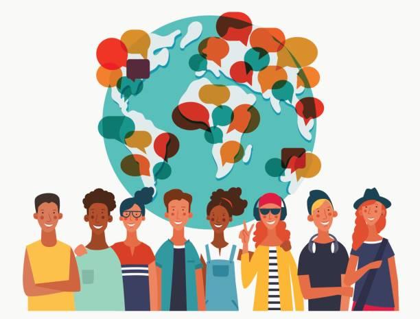 ilustraciones, imágenes clip art, dibujos animados e iconos de stock de grupo de jóvenes con mapa del mundo. concepto de vector de comunicación, trabajo en equipo y conexión - diversidad linguistica