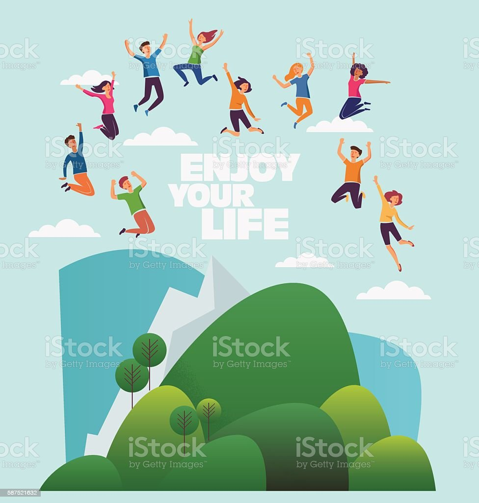 Group of young, smiling people jumping over mountain landscape ベクターアートイラスト