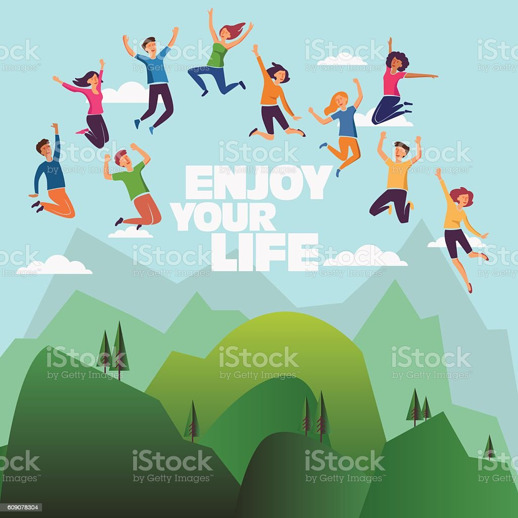 Group of young, smiling people jumping over mountain landscape vector art illustration