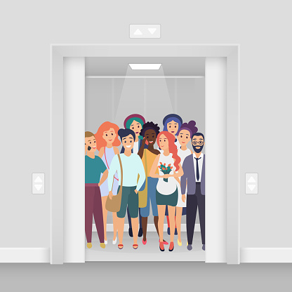 Group of young smiling people with phones, bags, flowers in the bright lighted modern crowded elevator with open doors vector illustration.