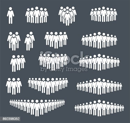 Group og people icon set. Crowd signs. Isolated on white background - Vector Illustration
