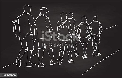 Chalkboard drawing of a group of people walking away