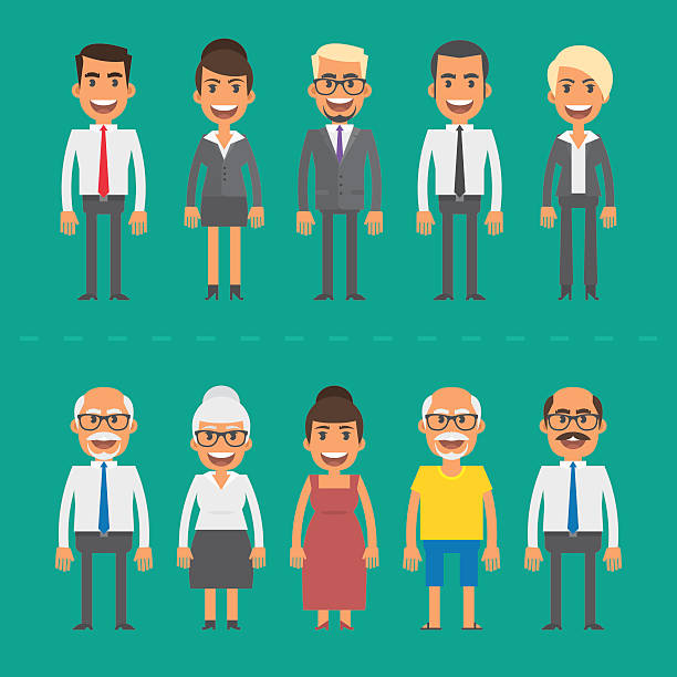 group people businessmen and businesswomen - old man smiling silhouettes stock illustrations, clip art, cartoons, & icons