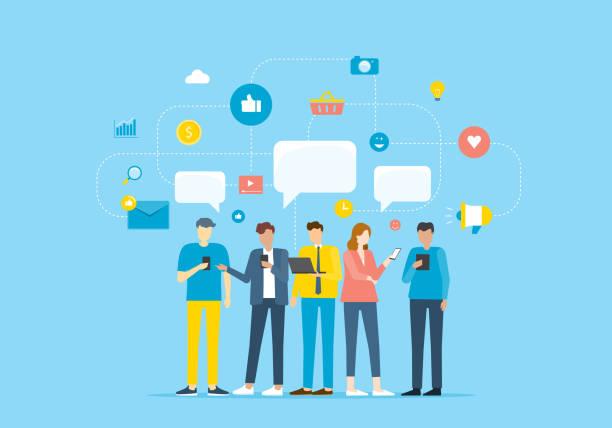 Gruppenpersonen Kommunizieren Sie über mobile Anwendung und Kontakt mit Unternehmen durch Social-Network-Konzept – Vektorgrafik