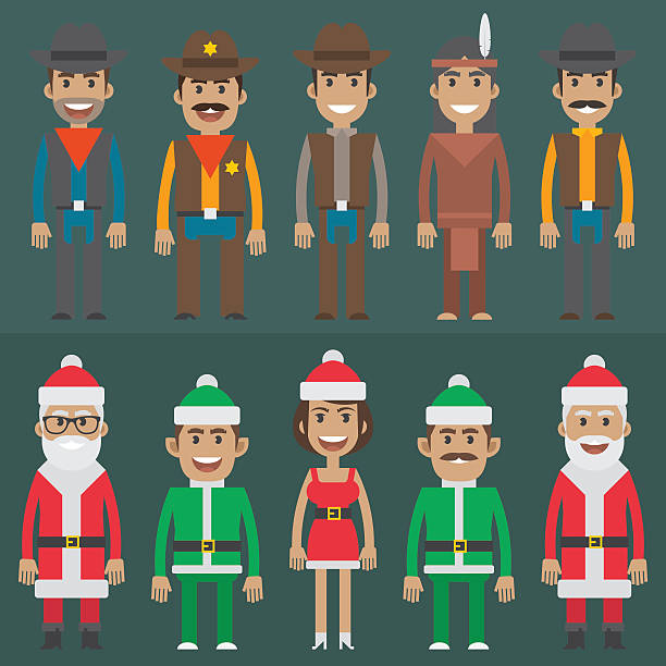 group people cowboy sheriff santa claus gnome - old man standing drawings stock illustrations, clip art, cartoons, & icons