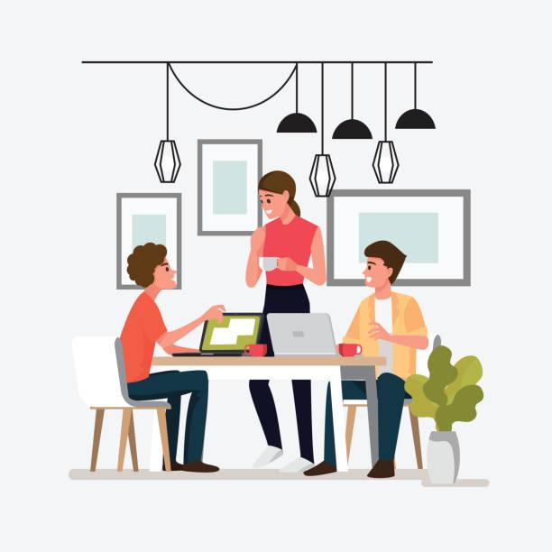 stockillustraties, clipart, cartoons en iconen met groep mensen vergadering doen project concept.teens mensen bespreken over de stripfiguur van een cafe.vector-afbeelding. - breakfast table
