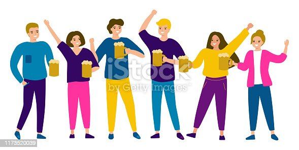 istock Group people of male and female friends are holding beer mug. Beer festival Oktoberfest. Vector illustrtion cartoon style 1173520039