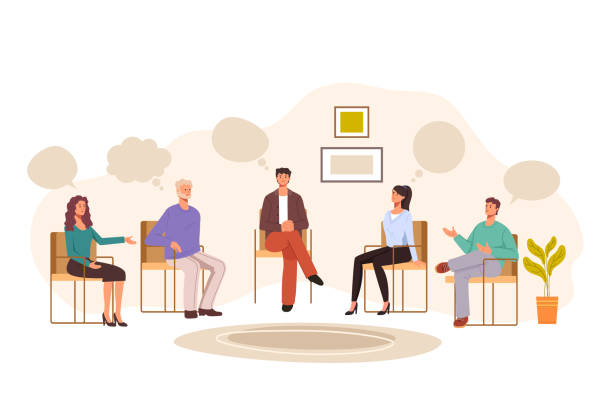 Group people psychology problems therapy concept. Vector graphic design illustration vector art illustration