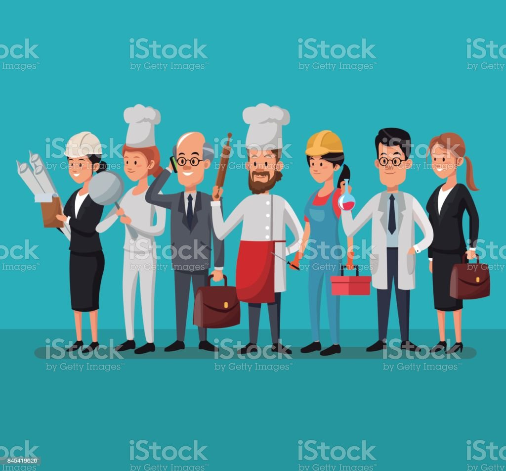 group people various professions labor day - Royalty-free Adult stock vector