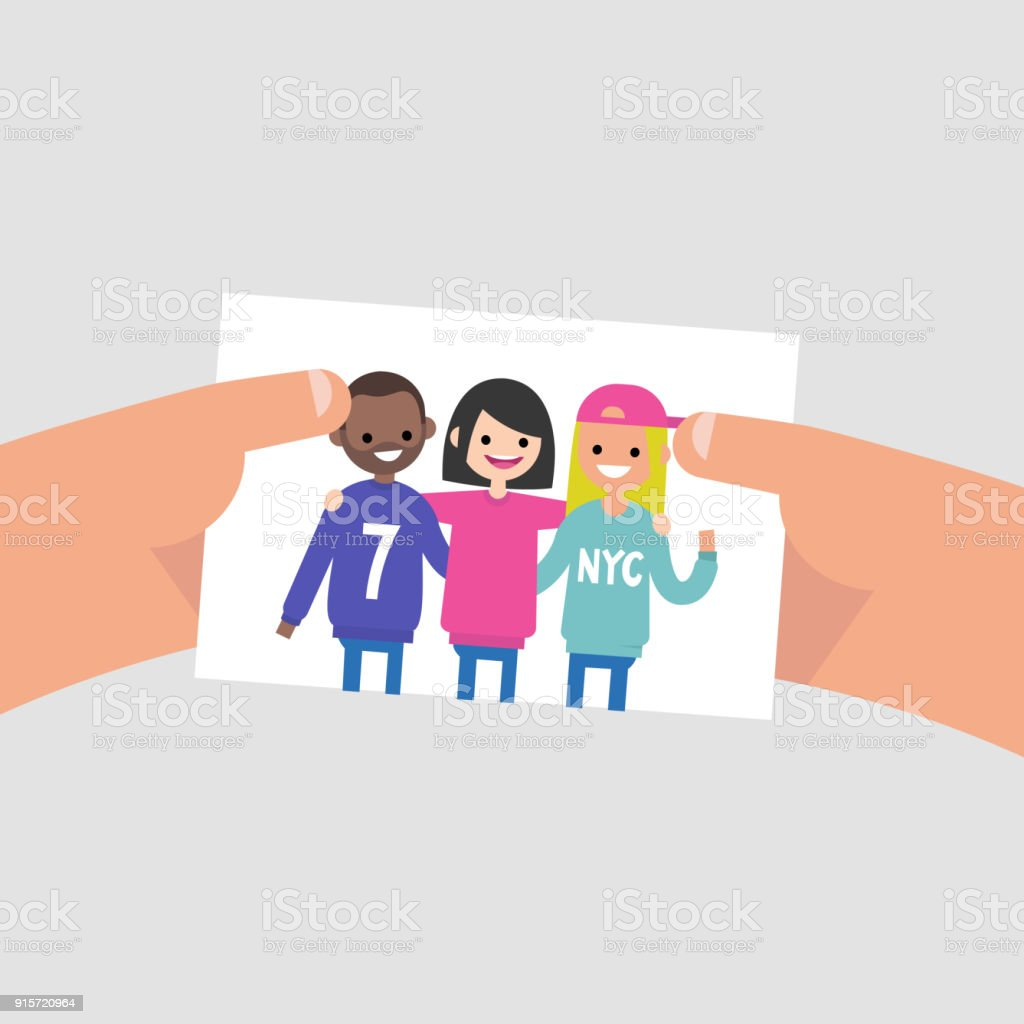 Group photo of international friends. Flat editable vector illustration, clip art. Lifestyle. Millennials. Teenagers wearing bright clothes. vector art illustration