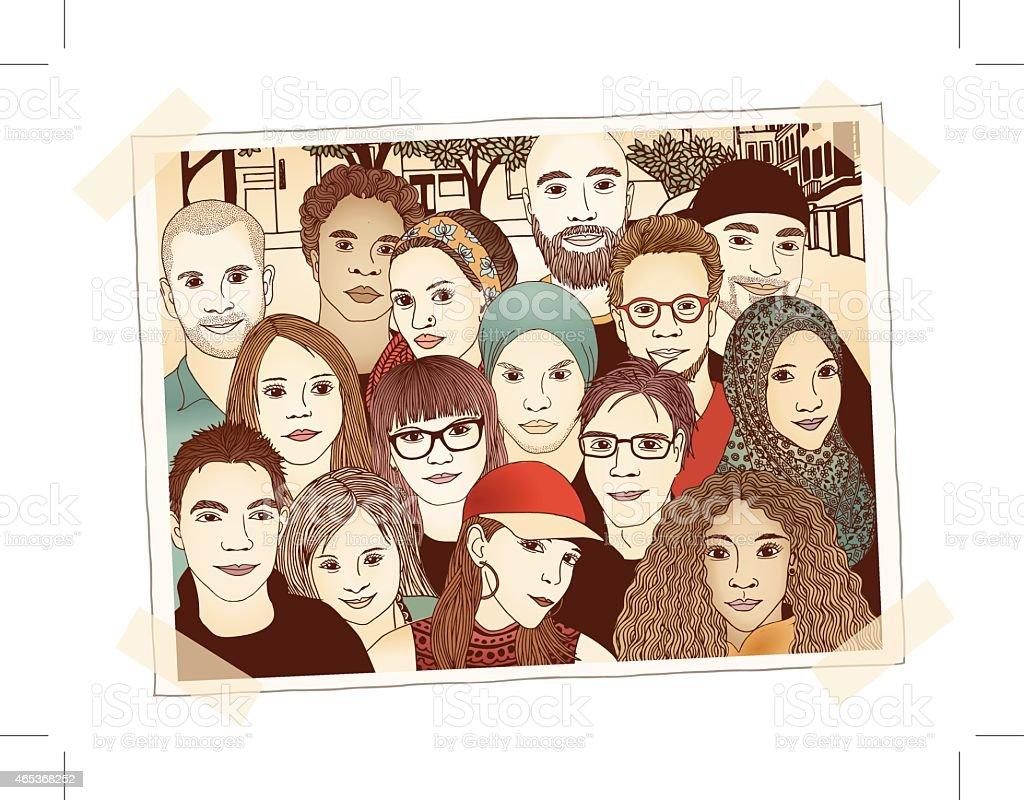 Group photo vector art illustration
