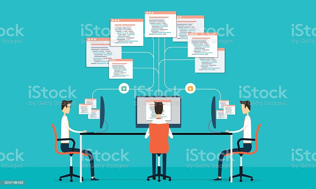 Group programing connection develop web siet and application vector art illustration