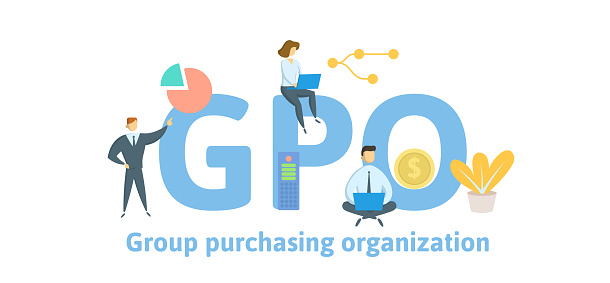 GPO, Group Purchasing Organization. Concept with keywords, letters and icons. Flat vector illustration. Isolated on white background.
