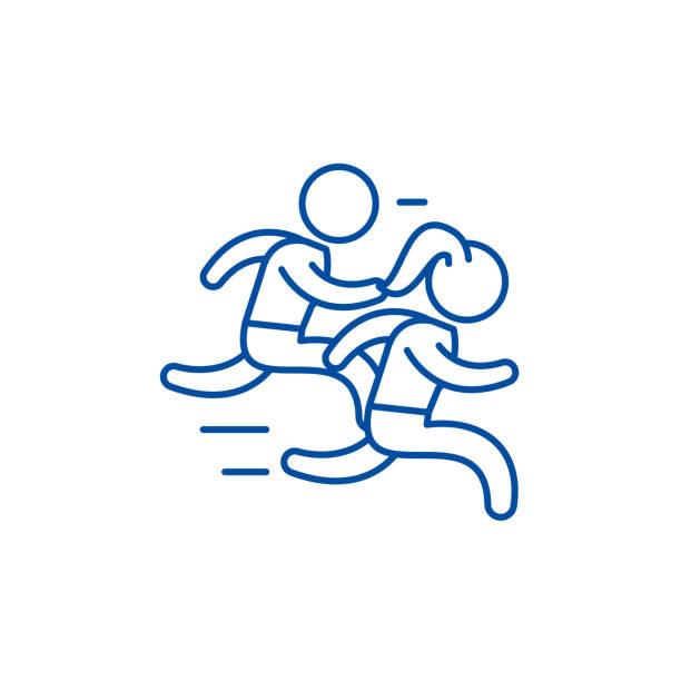ilustrações de stock, clip art, desenhos animados e ícones de group run line icon concept. group run flat  vector symbol, sign, outline illustration. - young woman running city