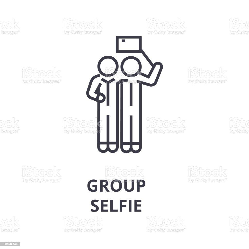 group selfie line icon, outline sign, linear symbol, vector, flat illustration vector art illustration