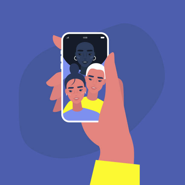 ein gruppen-selfie von multiethnischen freunden, social-media-inhalte, virale beiträge, bff, millennial lifestyle - selfie stock-grafiken, -clipart, -cartoons und -symbole