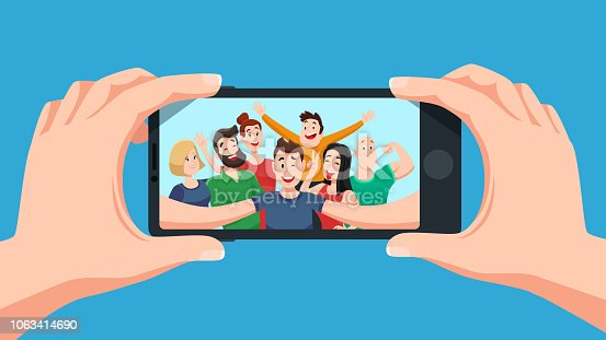 istock Group selfie on smartphone. Photo portrait of friendly youth team, friends make photos on phone camera cartoon vector illustration 1063414690