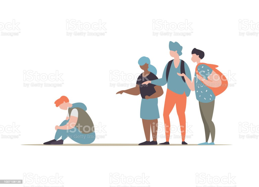 グループの学生のいじめと男を抑制 ベクターアートイラスト