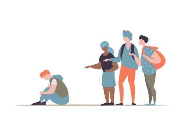 Schüler Mobbing-Gruppe und den Kerl zu unterdrücken – Vektorgrafik