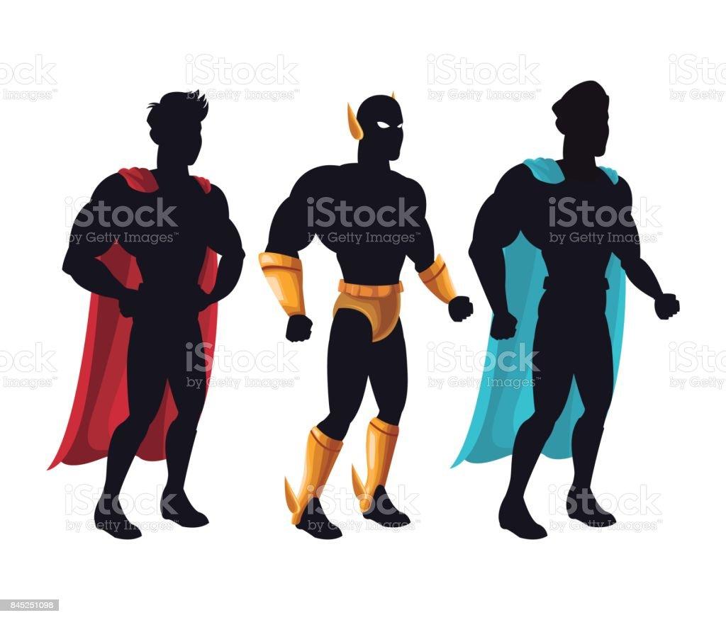 Gruppe Superhelden Menschen Kostum Charakter Stock Vektor Art Und