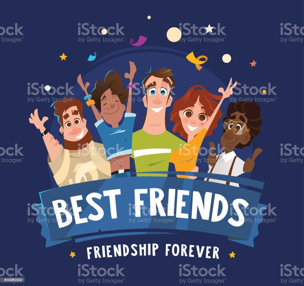 Group team happy smile teenagers students friends vector art illustration