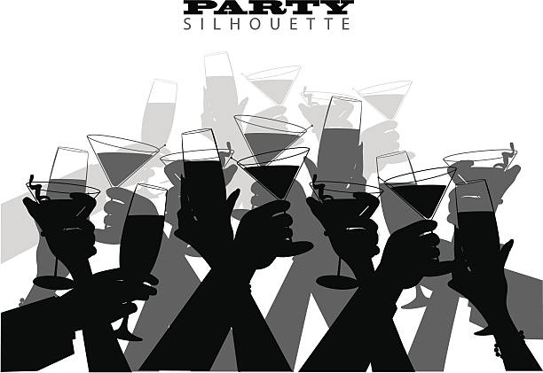 Group Toast A large group of hands toasting points to your message. anniversary silhouettes stock illustrations