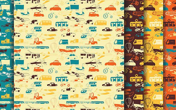 illustrazioni stock, clip art, cartoni animati e icone di tendenza di impostare di trasporto di gruppo motivo - subway