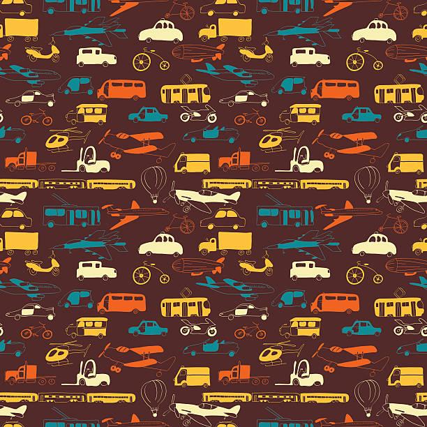 illustrazioni stock, clip art, cartoni animati e icone di tendenza di motivo di trasporto di gruppo - subway