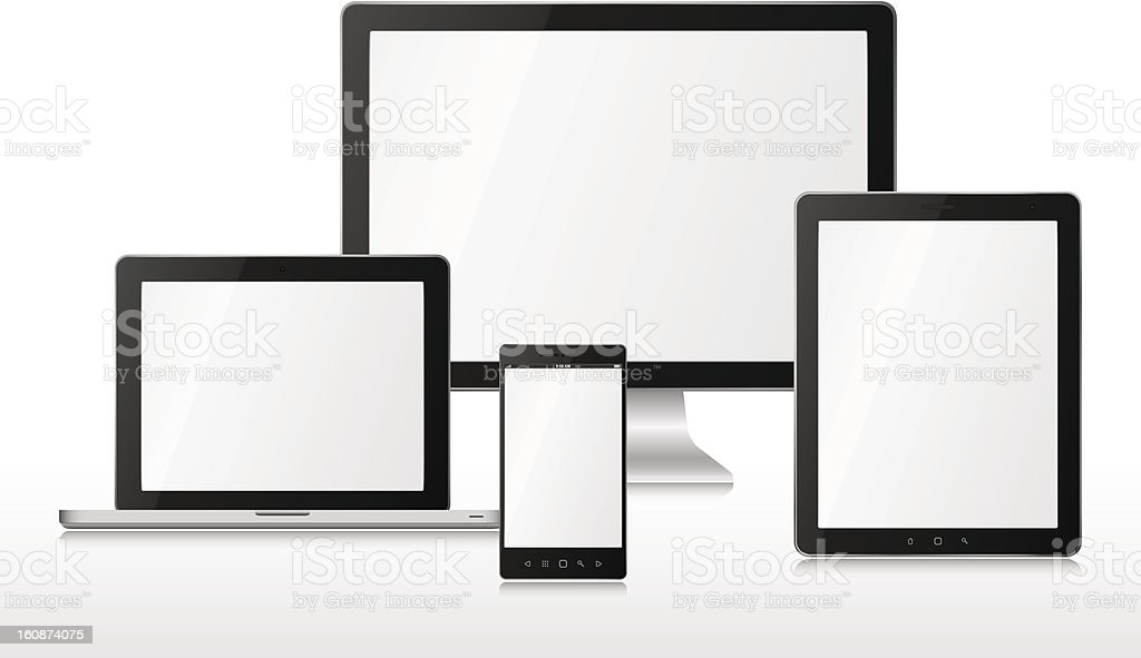Group vector computers vector art illustration