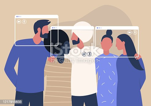 Group video call, virtual window frames, a diverse group of young characters gathering together online
