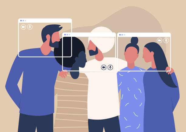 illustrazioni stock, clip art, cartoni animati e icone di tendenza di group video call, virtual window frames, a diverse group of young characters gathering together online - hug