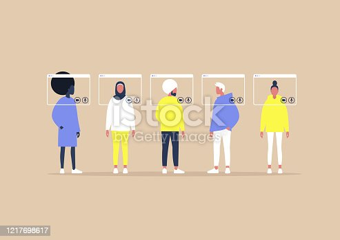 istock Group video call, virtual window frames, young characters having an online meeting 1217698617