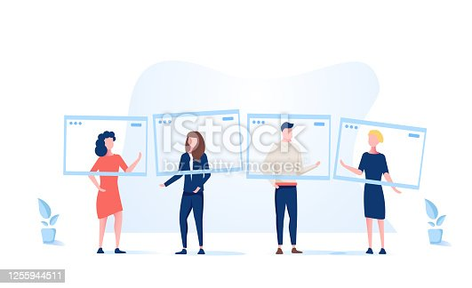 Group video call, virtual window frames, young characters having an online meeting. Online meeting of people. Online Conference, social distancing, remote team, augmented reality. Web video frame