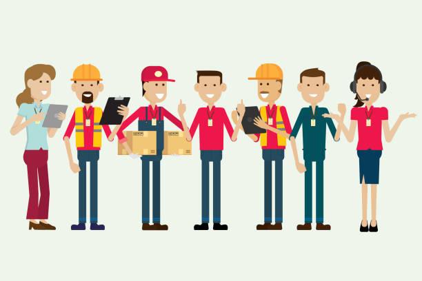 stockillustraties, clipart, cartoons en iconen met magazijn werknemer en werknemer groepskarakteristieken. illustratie vector - warenhuismedewerker