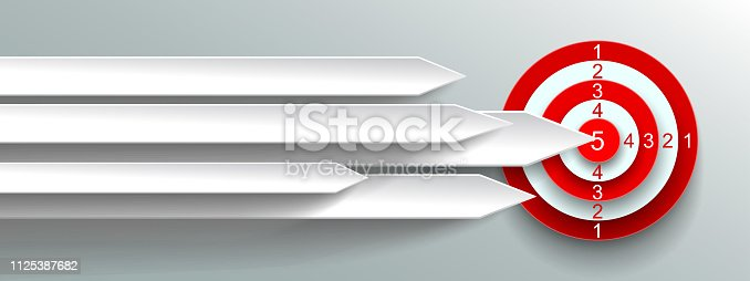 Group white paper arrows are directed to the goal - stock vector
