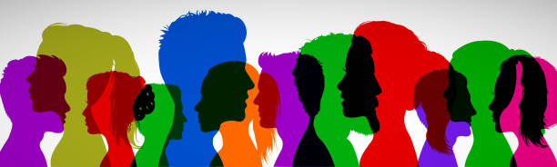 grupa młodych ludzi. sylwetka profilu twarze dziewcząt i chłopców - dla akcji - neutralne tło stock illustrations
