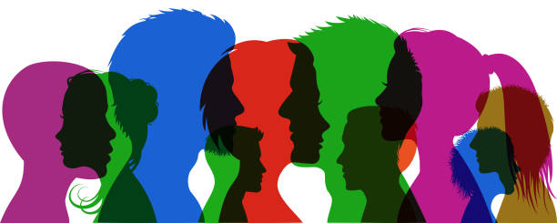 gruppe junger menschen. profil-silhouette steht mädchen und jungen – lager vektor - kindergesichtsfarben stock-grafiken, -clipart, -cartoons und -symbole