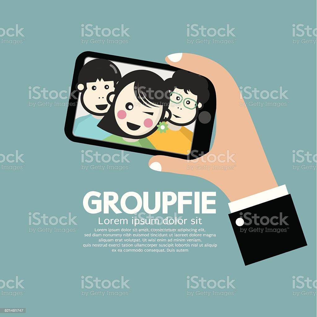 Groupfie A Group Selfie By Phone Vector Illustration vector art illustration