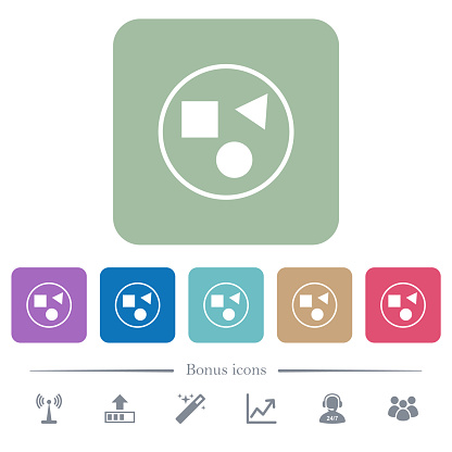 Grouping elements flat icons on color rounded square backgrounds