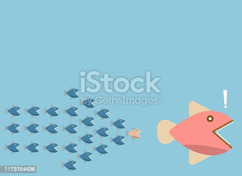 istock groupping small fish chase big fish with arrow shape, vector, illustration 1173154436