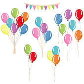 Set of colorful balloons. Groups, bunches  helium balloons. Separate party's balloons.