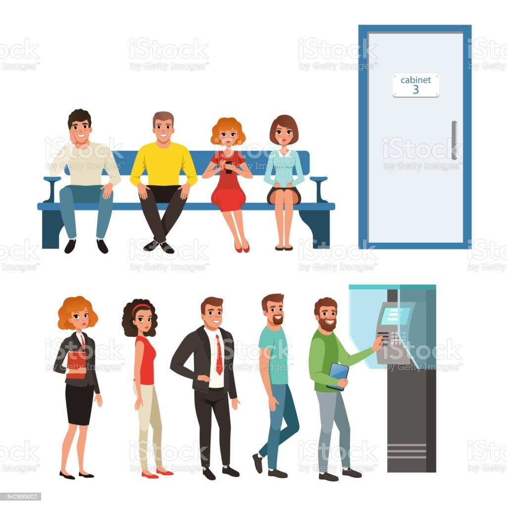 ilustración de grupos de personas de pie y sentado en colas cerca de