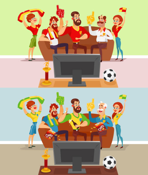 Groups of people watching a football match on TV Two vector cartoon illustrations of a group of friends and family members of football fans watching a football match on TV family watching tv stock illustrations