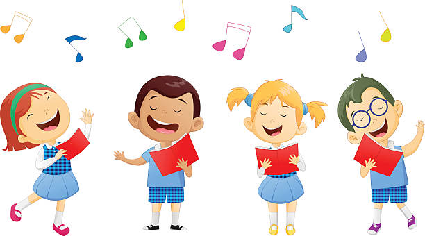 groups of school children singing in choir vector illustration of groups of school children singing in choir gospel choir stock illustrations