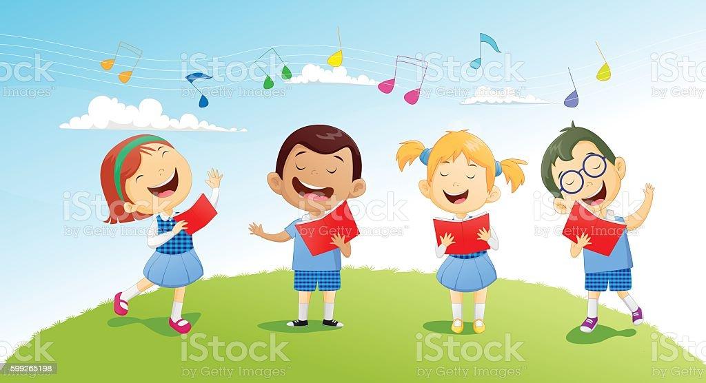 groups of school children singing in choir vector art illustration