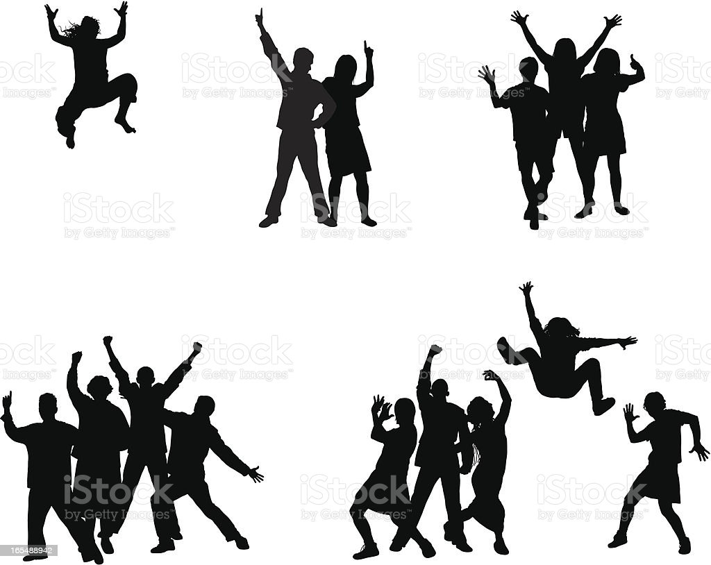 Groups (Each Person is Complete and Moveable) royalty-free stock vector art